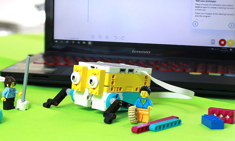 LEGOs in front of laptop computer