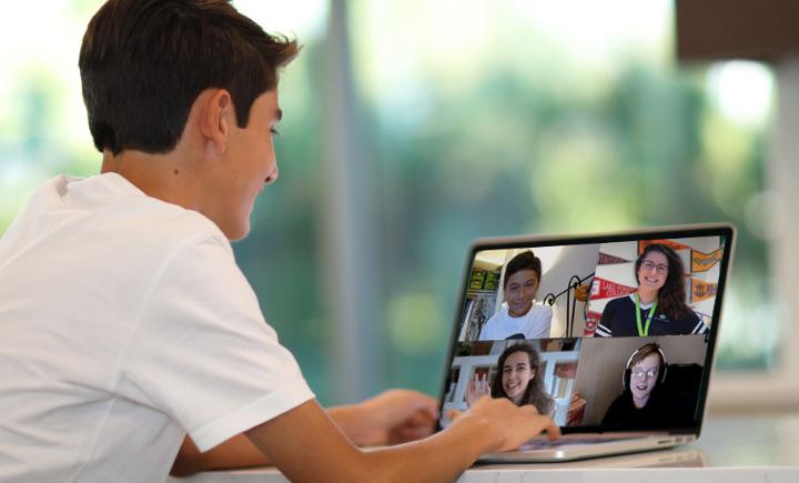 boy socializing in online learning