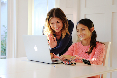 mom and daughter at computer learning to code