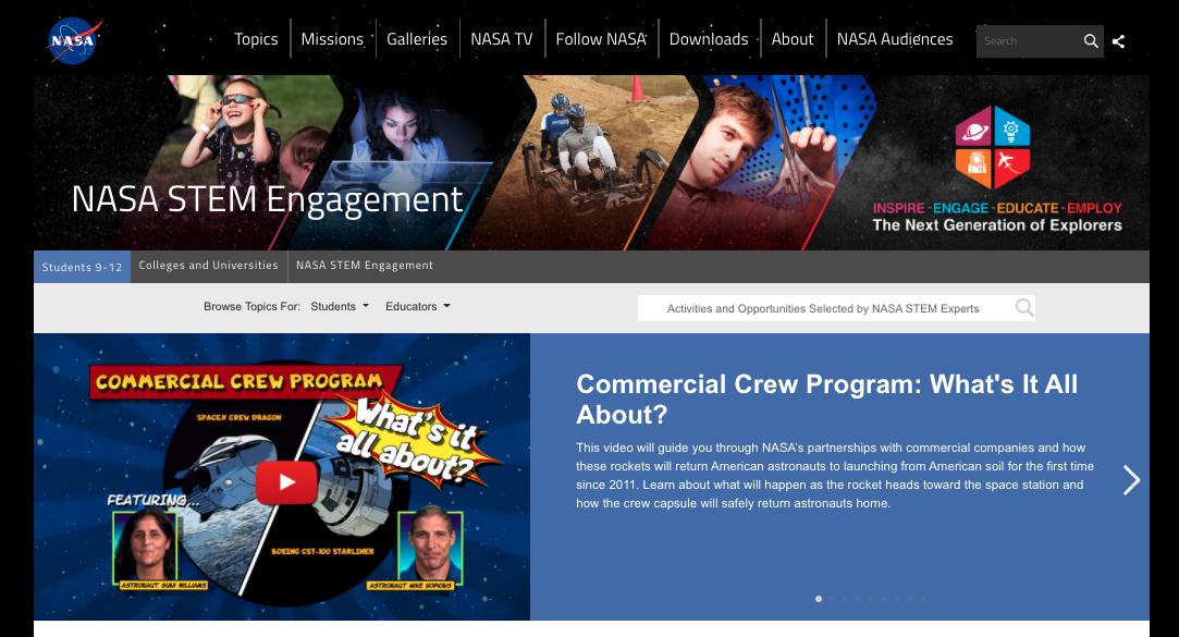 screen shot of nasa stem engagement website