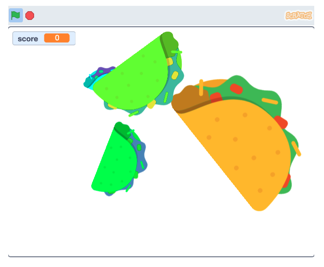 clicker game example with falling tacos