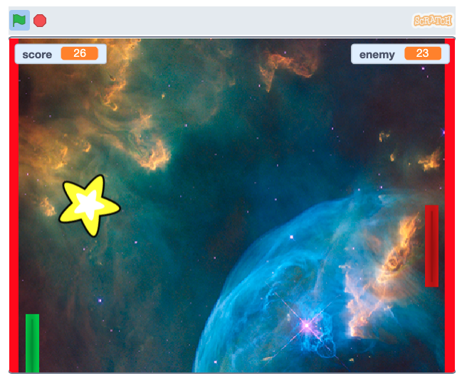 pong game example with stars and space