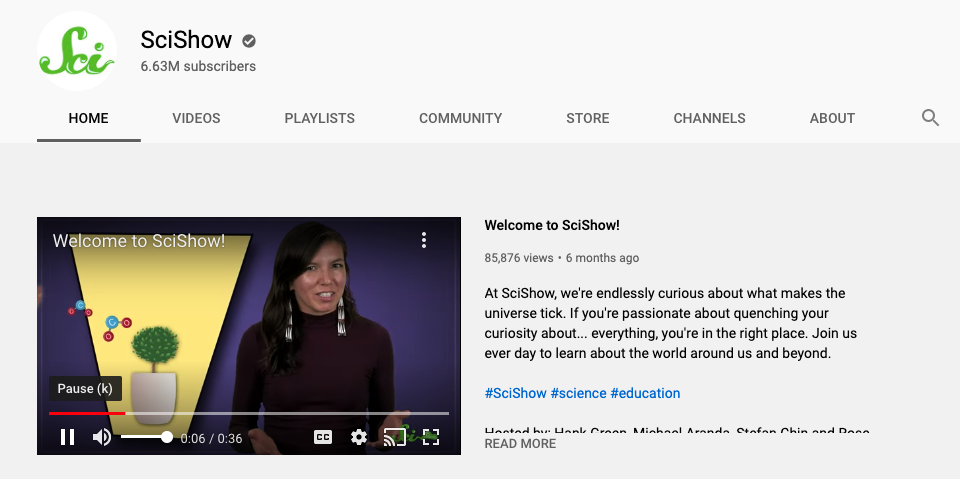 screen shot of sci show youtube channel