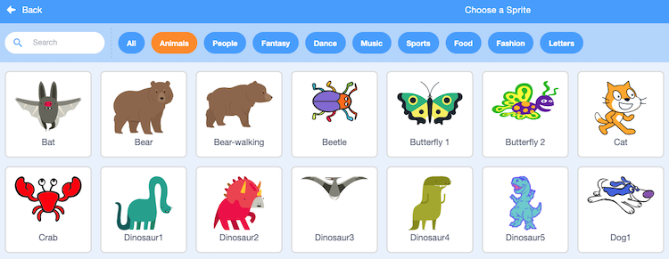 library of scratch sprites
