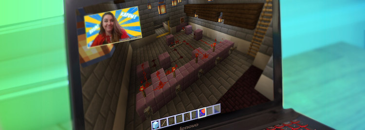 minecraft screenshot with girl playing