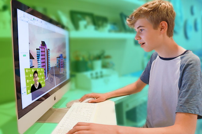 boy at computer learning online