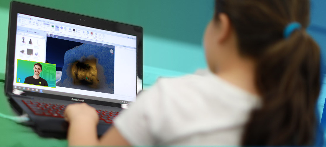 girl learning coding at laptop