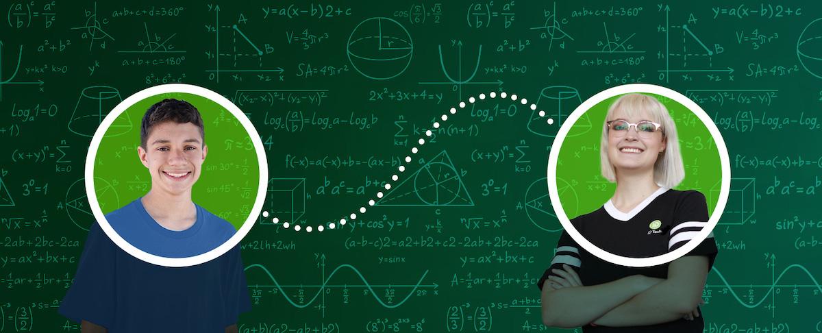 boy and instructor math blackboard background