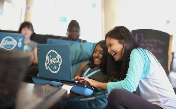 Two girls at laptop computer