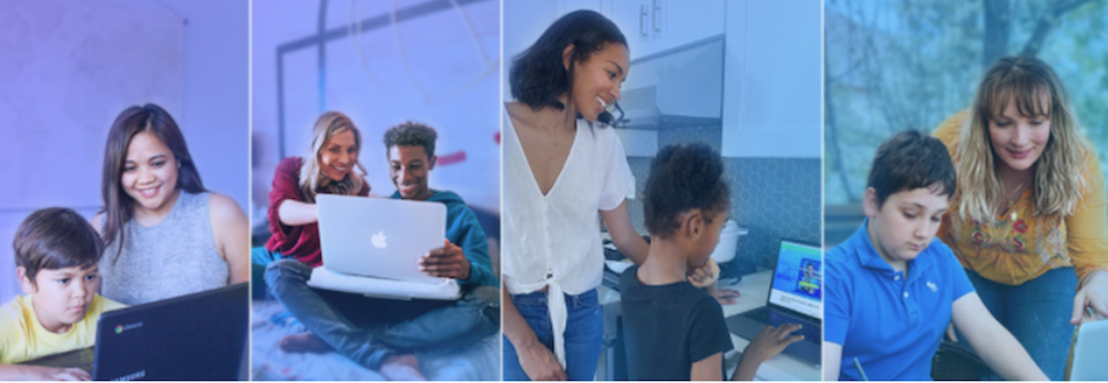 parents with their children using computers