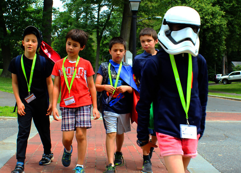 summer campers crossing the street