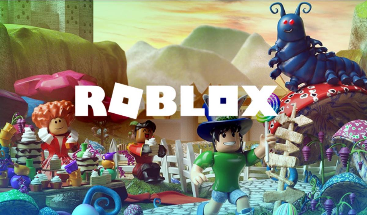 white roblox text over roblox scene in background