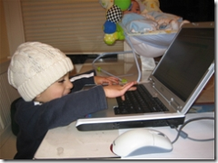Pete's son on laptop