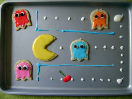 Pacman Cookies on Baking Sheet
