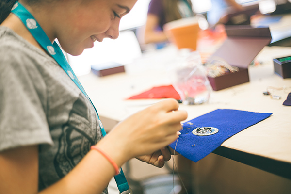 Girls Use LilyPad Arduino at Camp